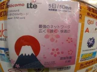 Japan DoCoMo 5 days unlimited data sim