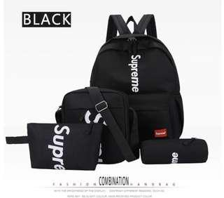 Unisex brand new supreme backpack set of 4 pcs