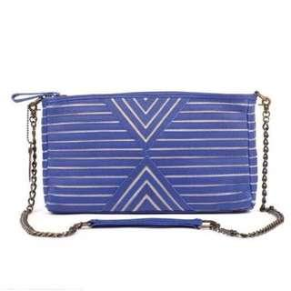 House of Harlow 1960 Riley Oversized Clutch *Rare* cobalt blue Aztec design