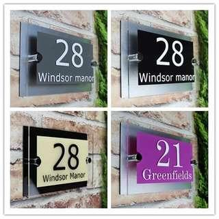 🆕🆒 Customized Transparent Acrylic House Number Plaques Sign Plates House Signs with Vinyl Films and Aluminum Plastic Backing Panels