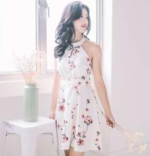 •PO• Floral Tie-Waist Keyhole Dress