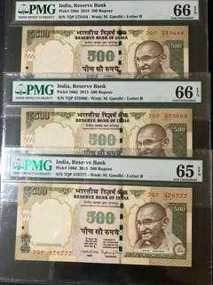 India - 3pcs of 500 rupees of fancy no. with same prefix PMG graded 65/66 EPQ.
