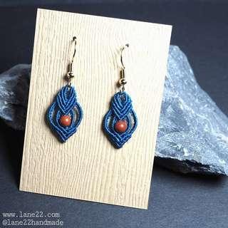 Homemade petite macrame blue earrings with Jasper gemstone beads. Stainless steel hooks available for sensitive skin. //[ Micro macrame macramé handmade earrings. Lane22 classic #3]