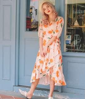•PO• Tulip Print Wrap Midi Dress