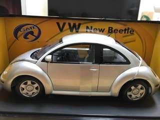 🚚 全新福斯銀色金龜車VW New Beetle 模型車 1:18製成