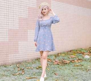 •PO• Floral Corset Waist Dress