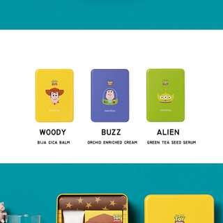 FRM KOREA INNISFREE X Toy story GLASS CUP WITH TIN BOX (BUZZ/ALIEN/WOODY)