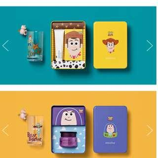 INNISFREE X Toy story GLASS CUP WITH TIN BOX (BUZZ/ALIEN/WOODY)