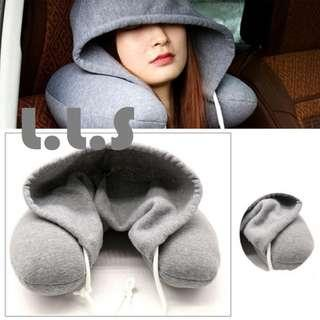 🚚 Travel Neck Pillow U Shaped With Cap, Travel Neck Support Pillow Cushion Hooded (HM1040) Singapore Seller + 100% Authentic