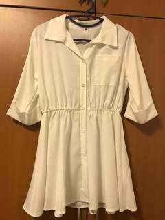 White Casual Button-down Dress