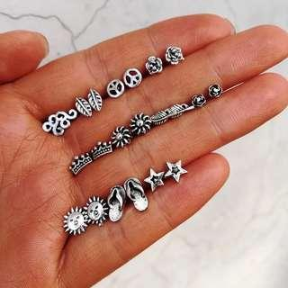 🚚 11 pairs/set Silver Stud Earrings