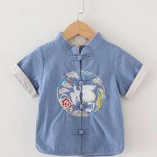 🚚 TZ042 Boys Mandarin Collar Traditional Kungfu Top Shirt Embroidered Crane