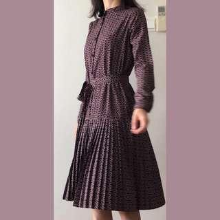 🚚 Print pleated dress with belt