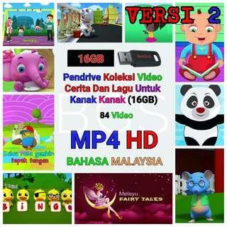 PENDRIVE KOLEKSI VIDEO CERITA DAN LAGU UNTUK KANAK KANAK VERSI 2 (16GB) MP4 HD