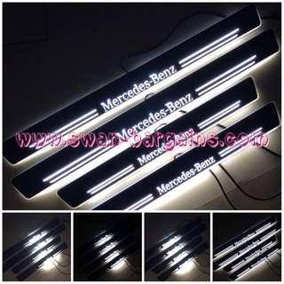 WHITE Mercedes-Benz E-Class E200 E250 Design Sweeping Glowing Animated Moving Running Illuminated LED Door Sill Scuff Protector Plates W210 W211 W212 W213 Available in 2pcs | 4pcs Set