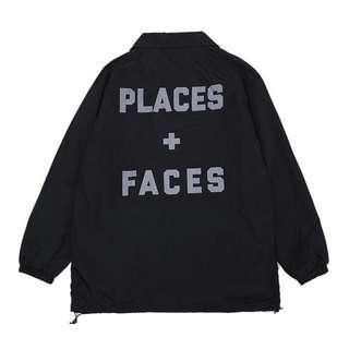 🚚 《實拍》Places+Faces p+f 防水風衣外套 教練外套 3M反光logo 夾克 黑
