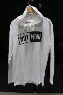 THIRDDAY T-shirt long sleeve with hoodie white NOT NOW