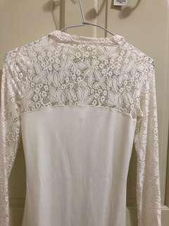 🚚 白色蕾絲風洋裝