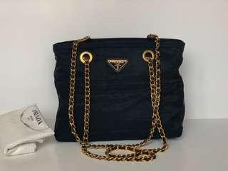 Authentic Prada Dark Navy Tessuto Chain Bag