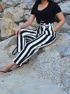 H&M Stripes High Waist Pants