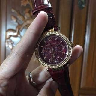 MK 2568 Maroon Leather Strap