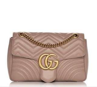 Gucci Calfskin Matelasse Mini GG Marmont Shoulder Bag Nudepink