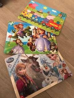 兒童砌圖$60/3款Puzzle 60片,Peppa pig, Sophia, Frozen