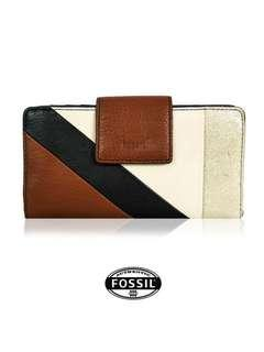 FOSSIL PATCHWORK TAB CLUTCH WALLET (BROWN-MULTI)
