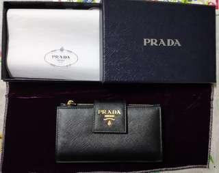 Prada Wallet 黑色 Stiffiano Leather 十字紋真皮 中size 多卡位