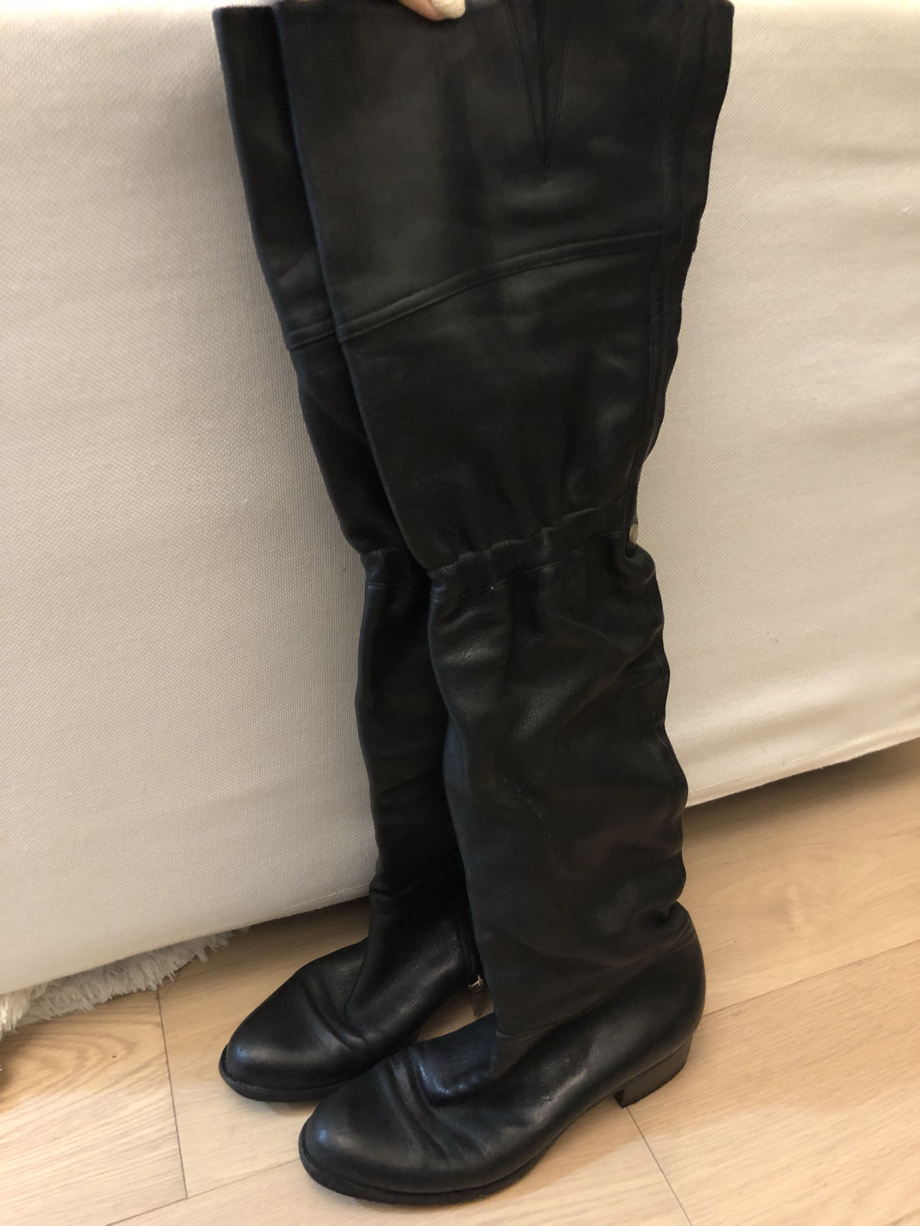 44b01bab3bb 💯% Authentic Jimmy Choo 100% leather thigh high boots black ...