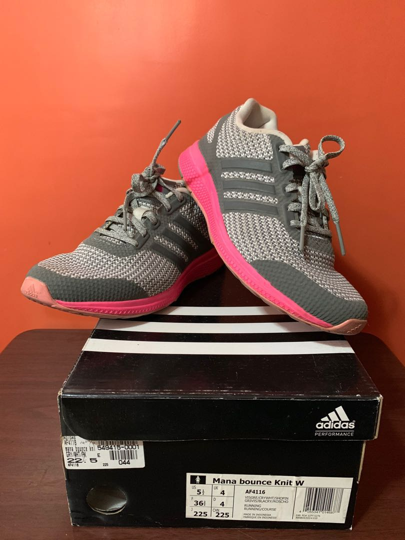 21d8df6f49b63 Adidas Mana bounce Knit Womens Rubber Shoes (gray