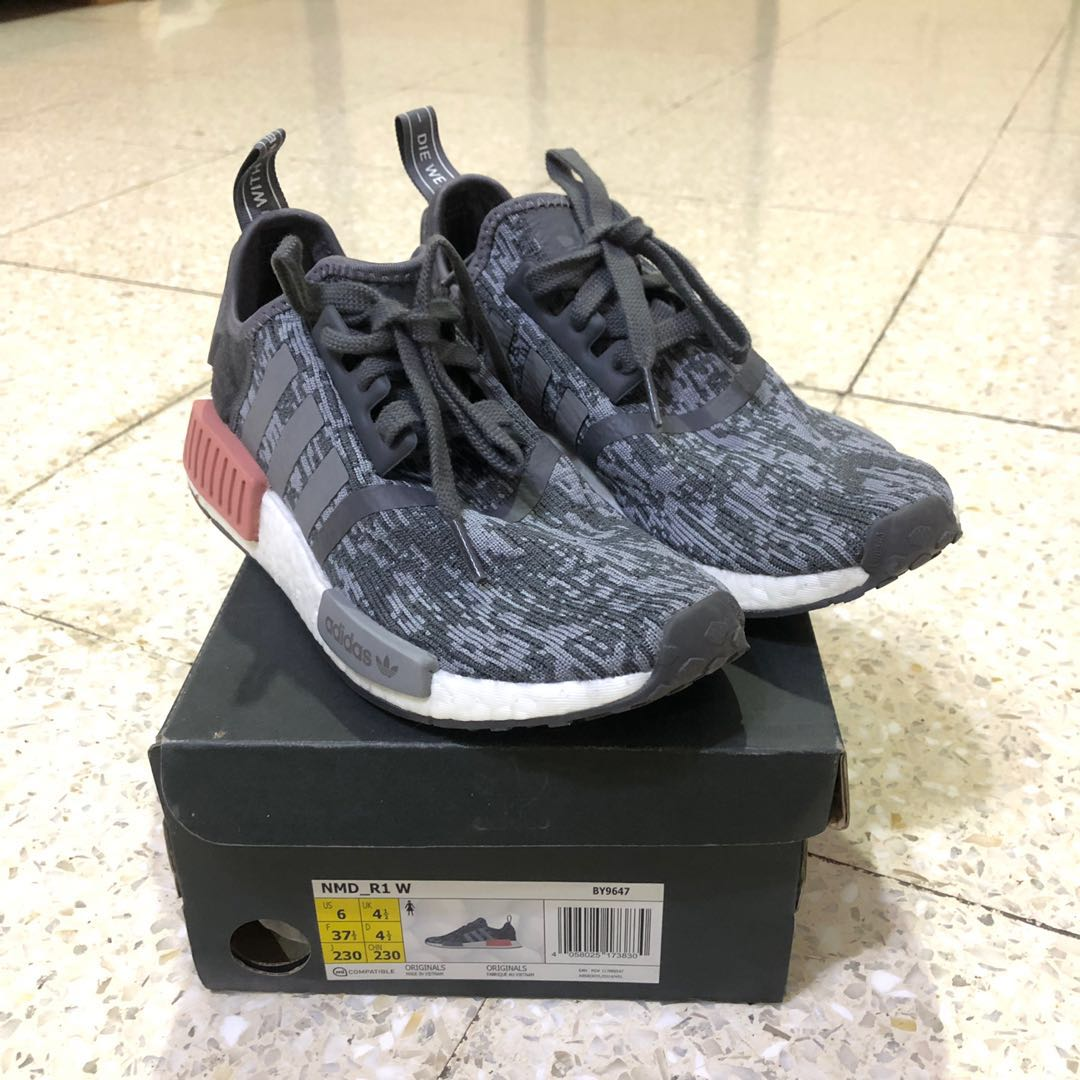 sale retailer 7e7f4 ba079 adidas NMD R1 Heather Grey Raw Pink (Style Code: BY9647)