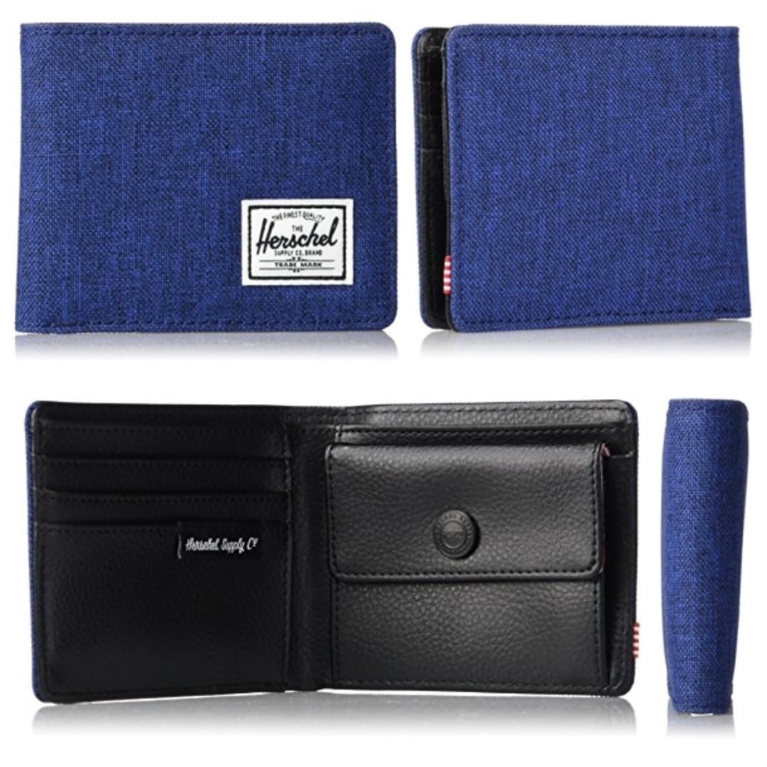 2bc64c64c09c AUTHENTIC herschel men s leather wallet hank coin pocket RFID blue ...