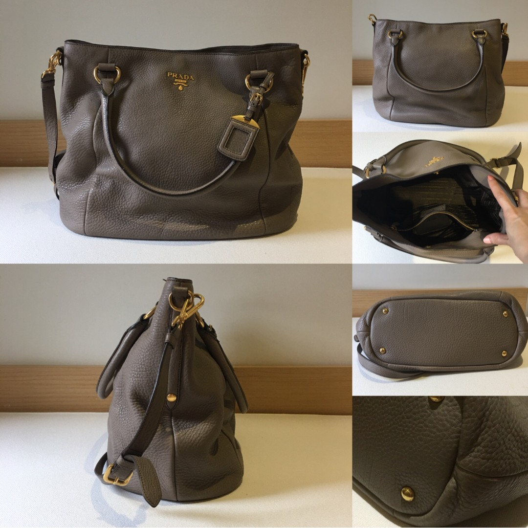 AUTHENTIC PRADA Sughero Vitello Daino Leather Tote Bag BR4391 ... 4bad495228