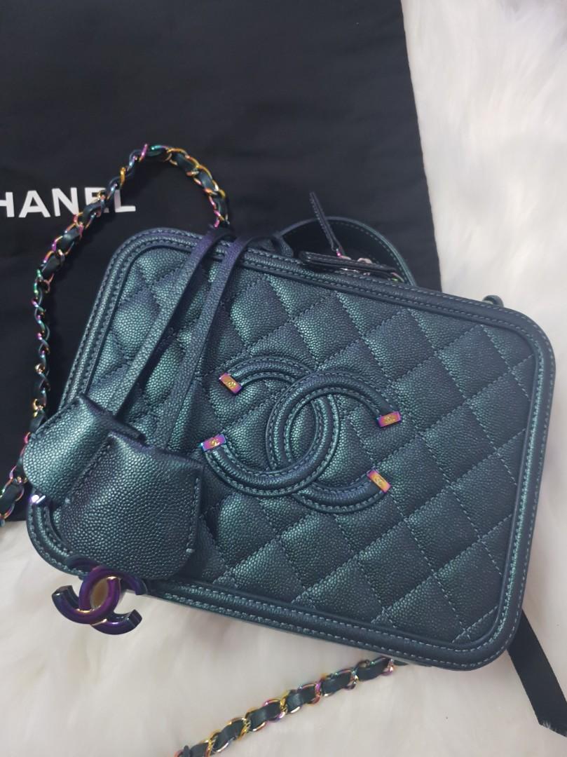 4970471d7110 Chanel Vanity Case Turquoise iridescent with Rainbow Hardware ...