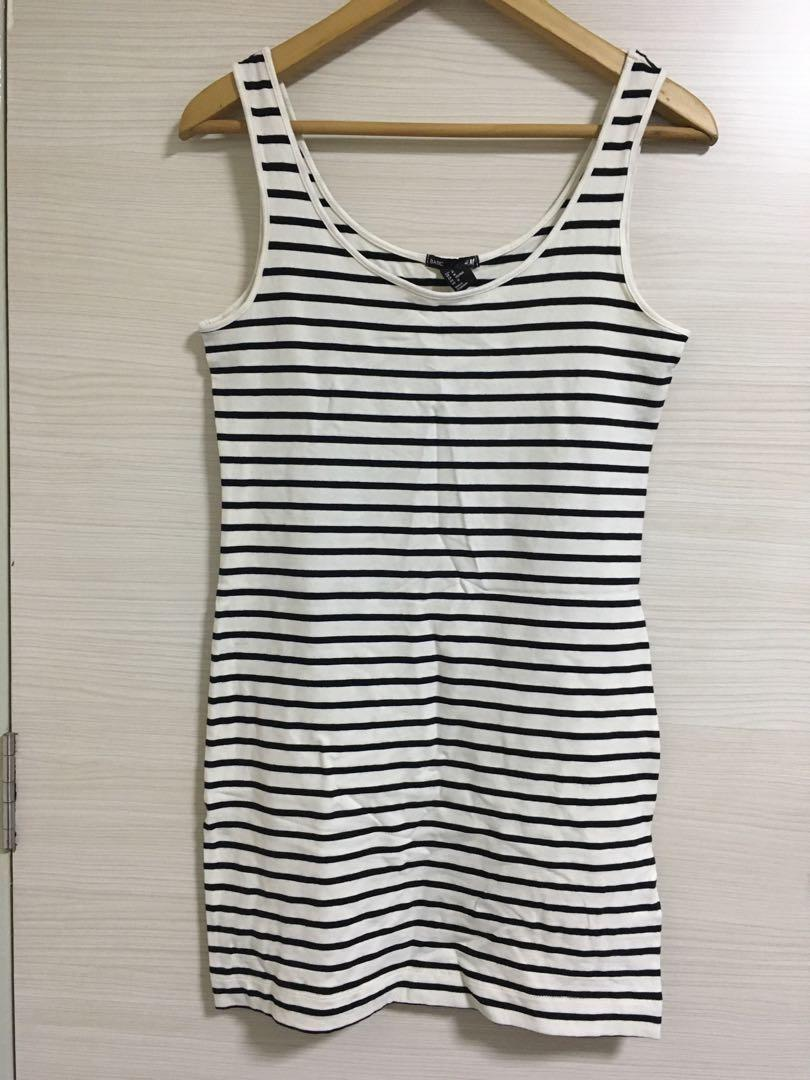 Cotton Striped Sleeveless Long Top