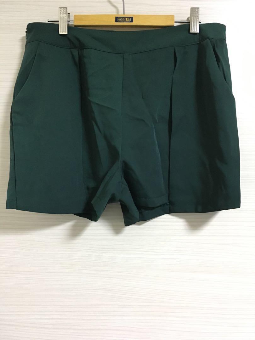 Dark Green Sets of Chiffon Top & Pants