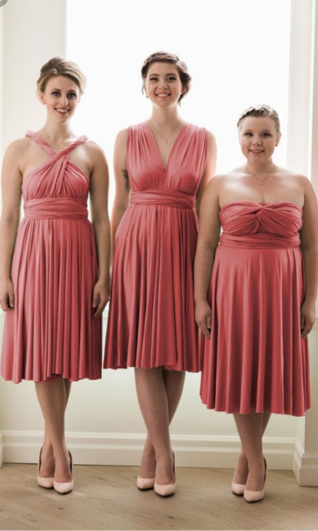 Dusty Pink Convertible Bridesmaid Dress Women S Fashion Clothes Dresses Skirts On Carousell