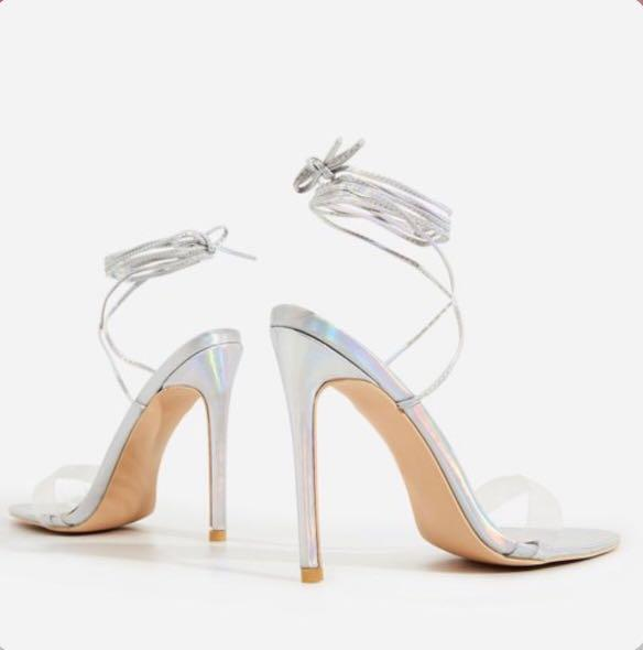 EGO SHOES - Silver Holographic Lace Up Heels