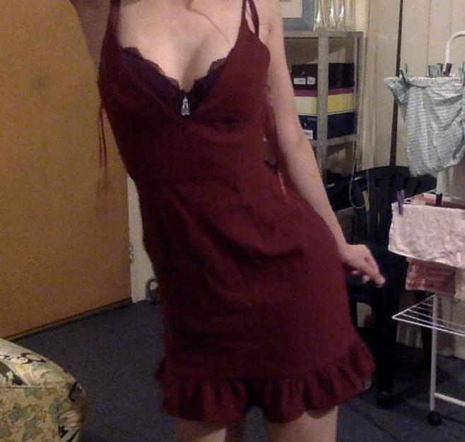 Frilled Maroon Party Dress