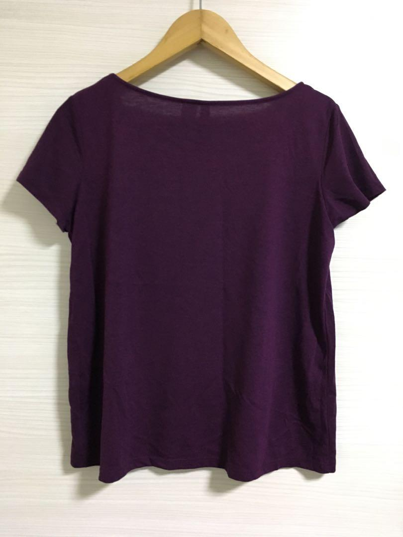 H&M Purple Plain Tee Shirt