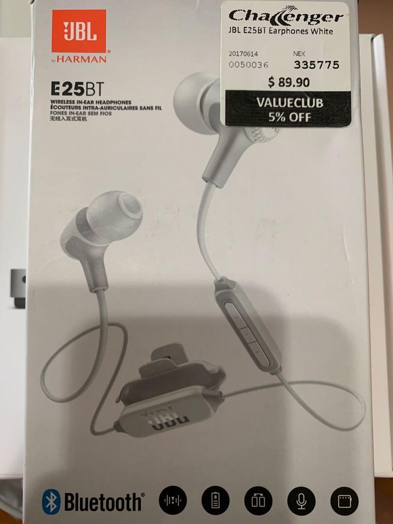JBL E25BT Wireless bluetooth in-ear headphones (white