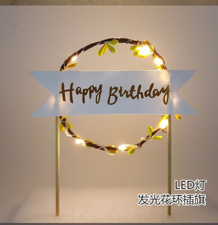LED Happy Birthday Cake Topper Design Craft Art Prints On