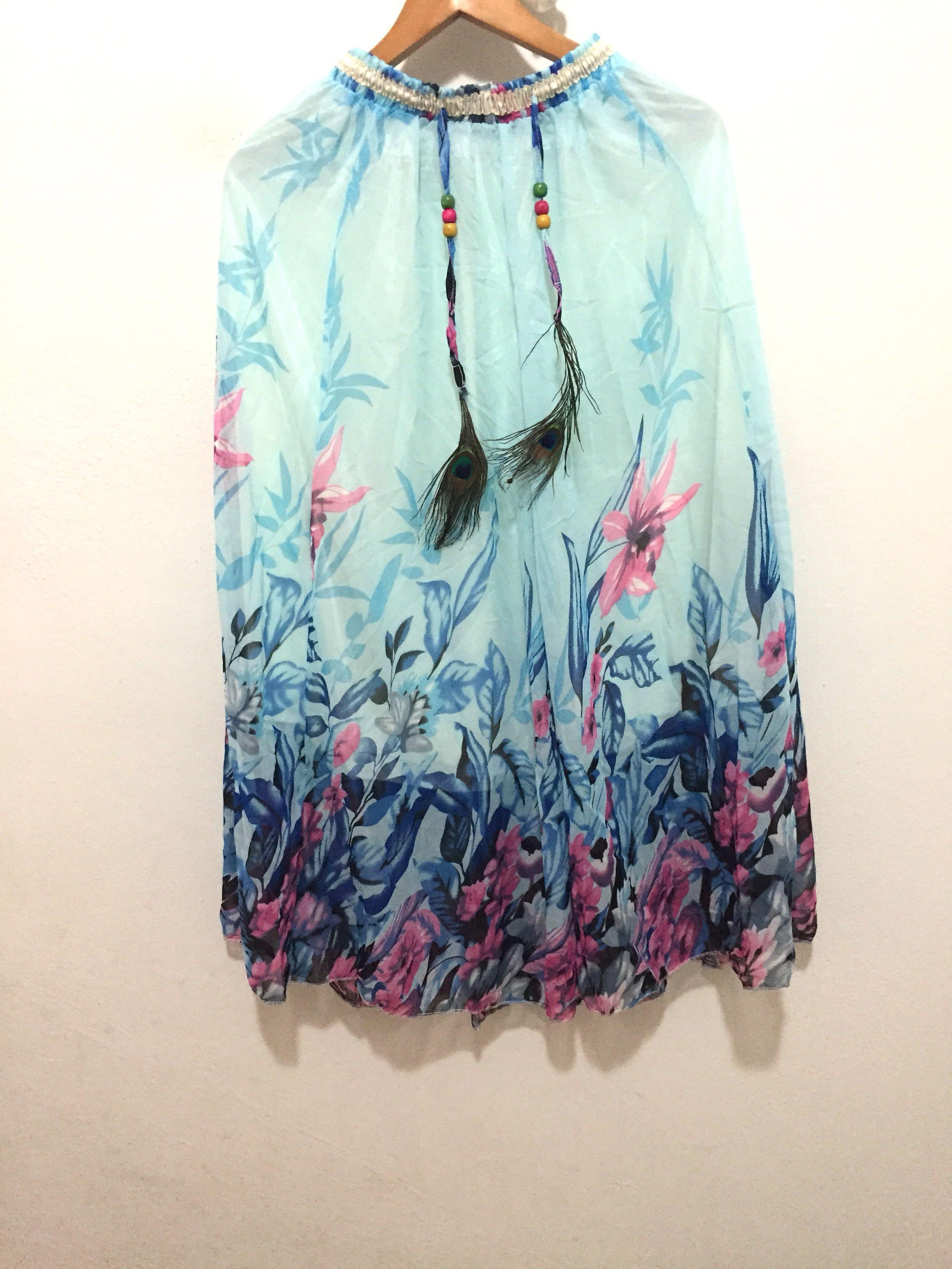 9310f88083 Light blue boho floral print chiffon long maxi skirt, Women's ...