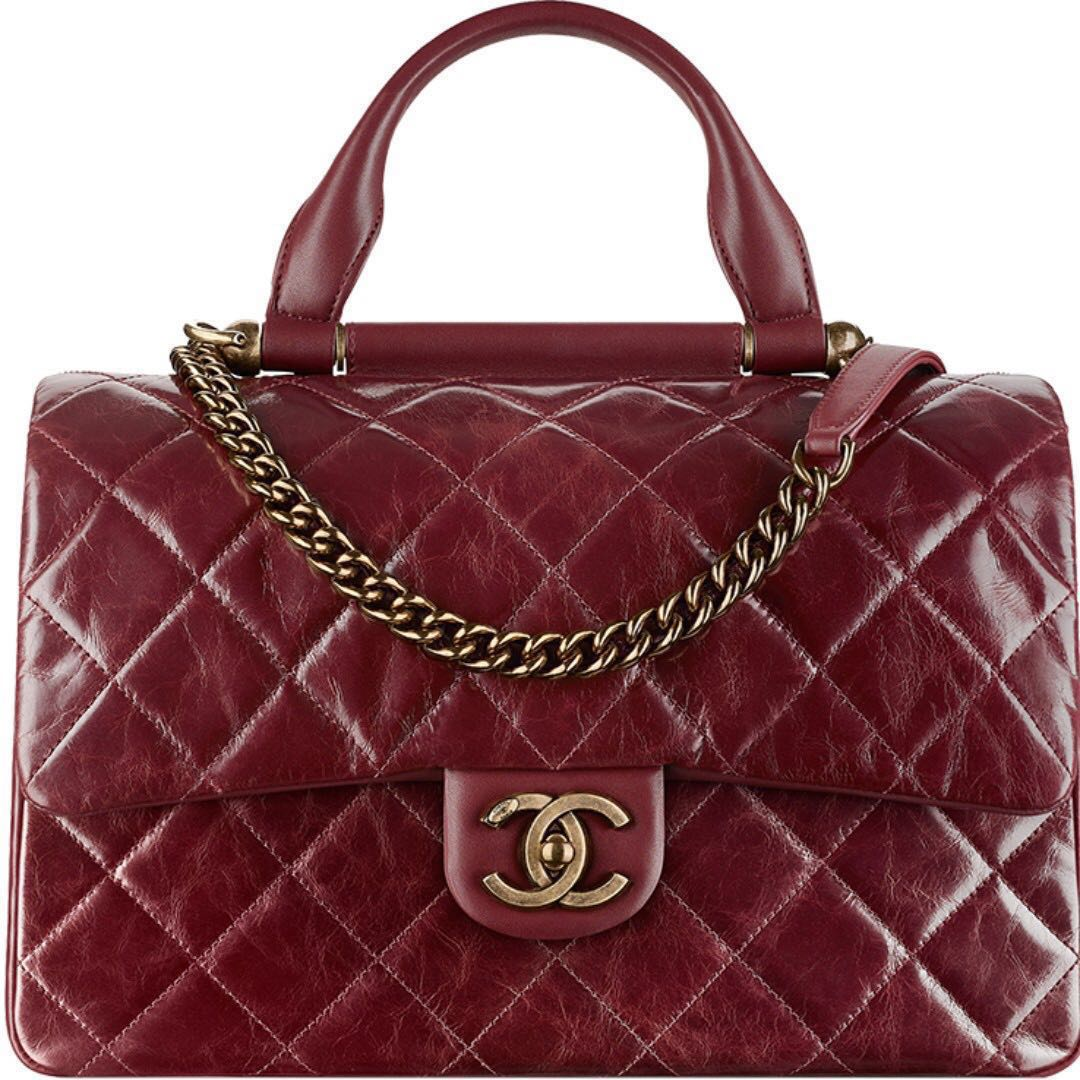 d89235137e81 MILAN01 -Authentic Chanel Burgundy Wax Calfskin Flap Bag With Handle ...