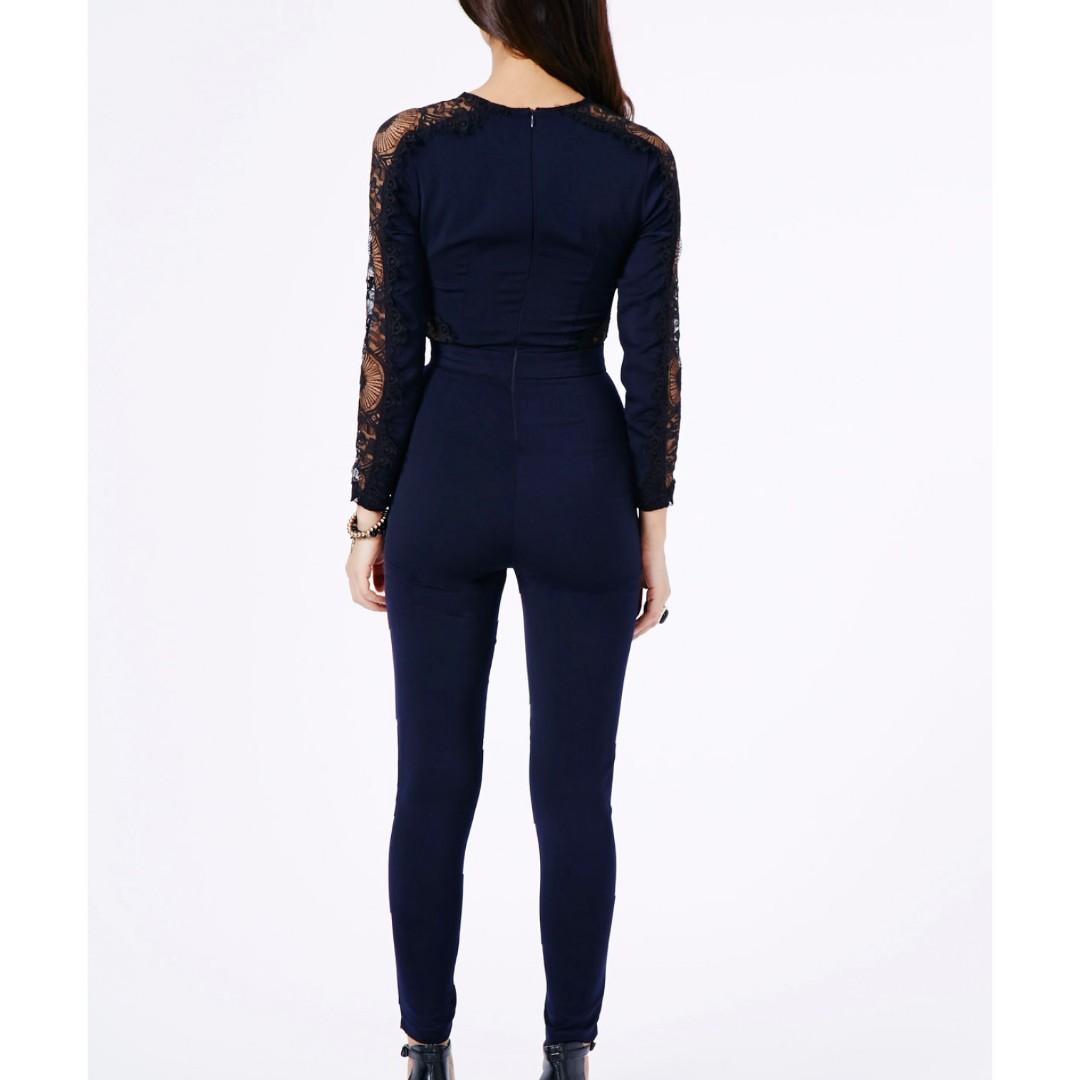 Missguided Women's Black Cenobia Lace Panel Bodycon Jumpsuit AU 6