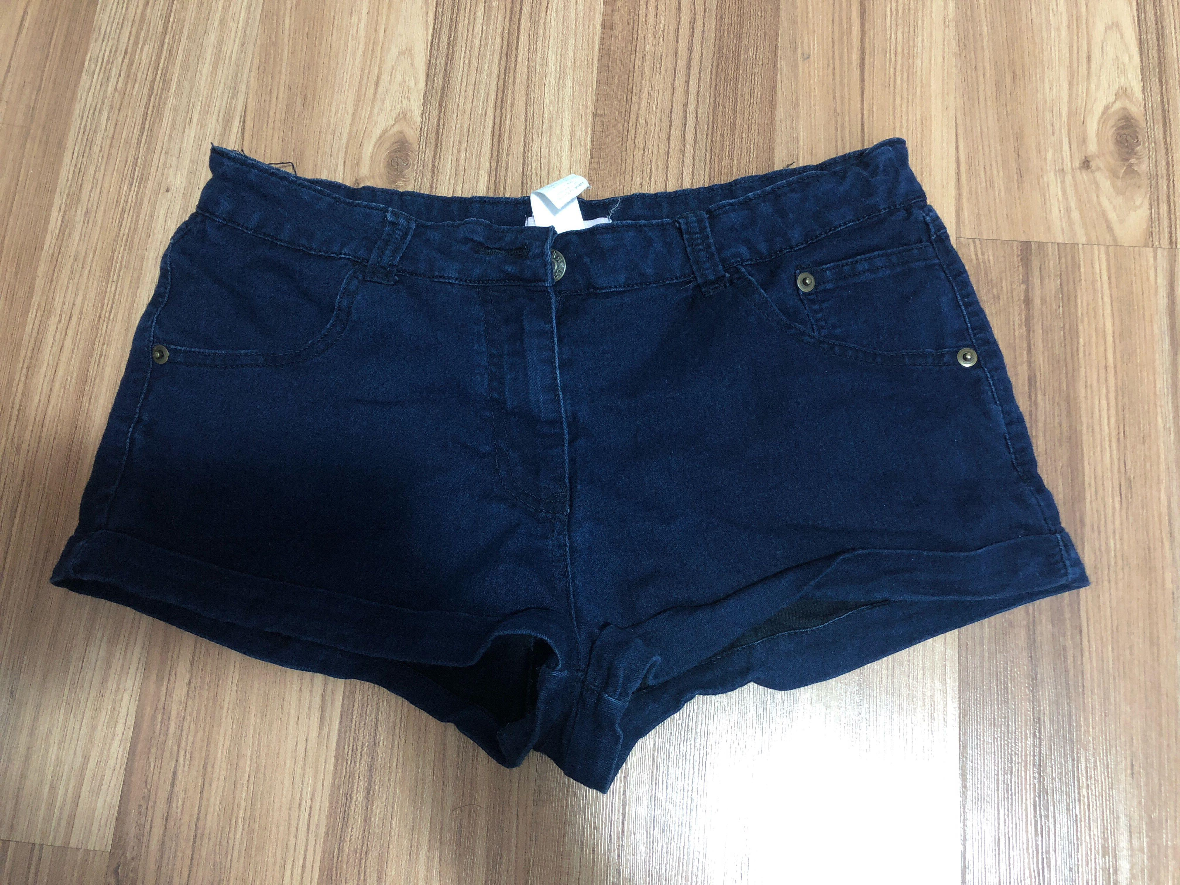 Navy denim look shorts