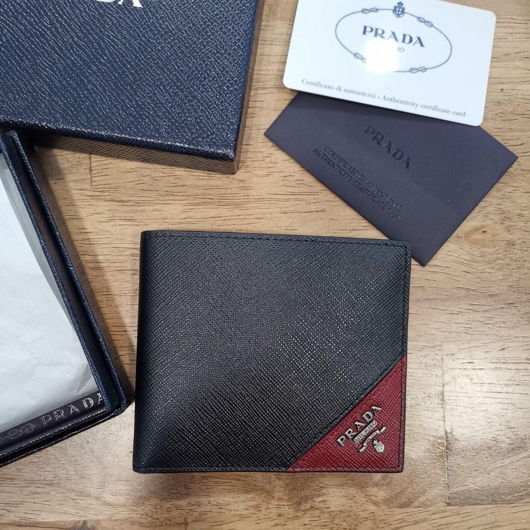 5638895820f7 Prada Rare Colour Nero Metal Logo Mens Bifold Wallet, Men's Fashion ...