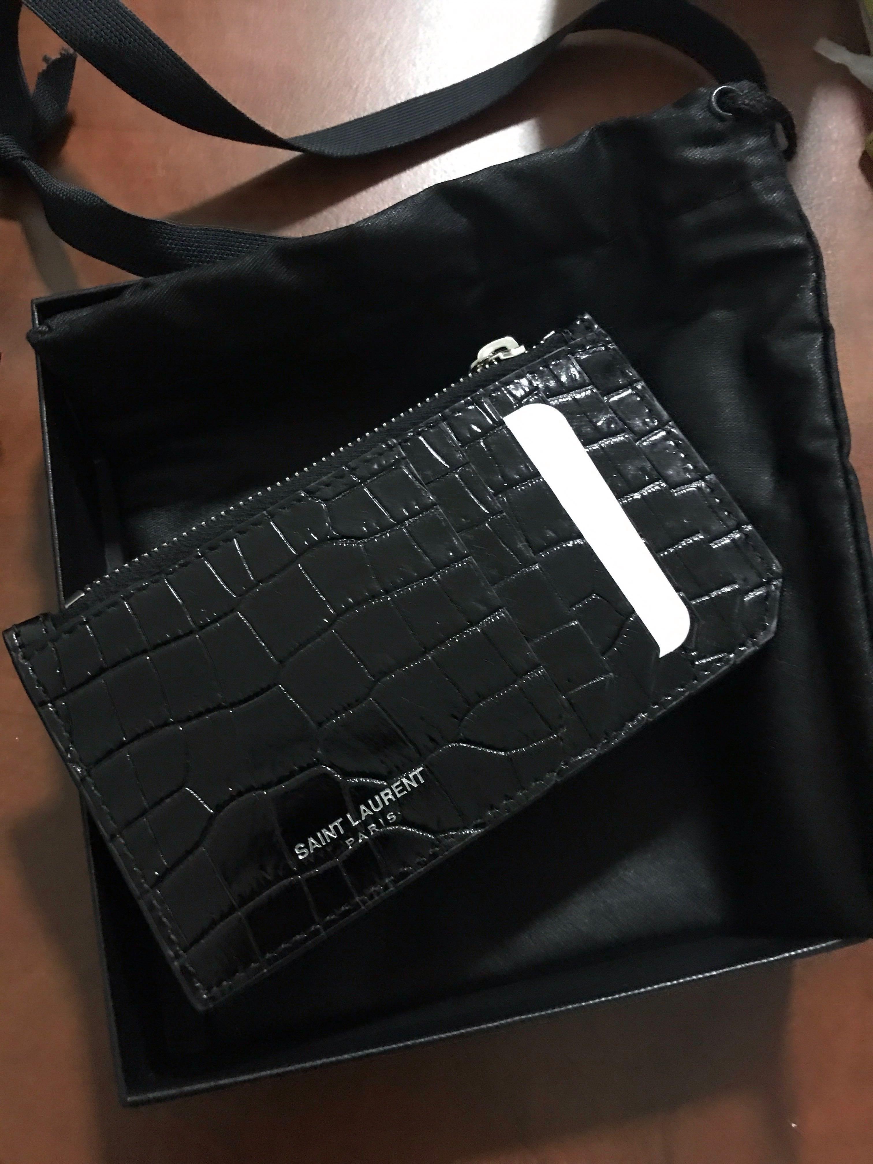 super popular 361b1 c3698 Saint Laurent YSL SLP Fragment Zipped Card Holder Wallet Black croc
