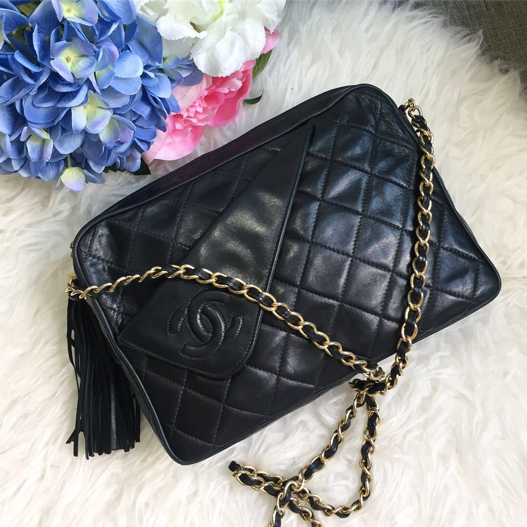 65fde8b5248f79 ❌SOLD!❌ Beautiful Piece! Chanel Vintage Camera Bag Tassel in Black ...